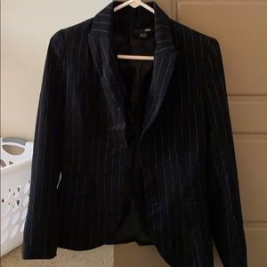 Black with White Pinstripe Blazer